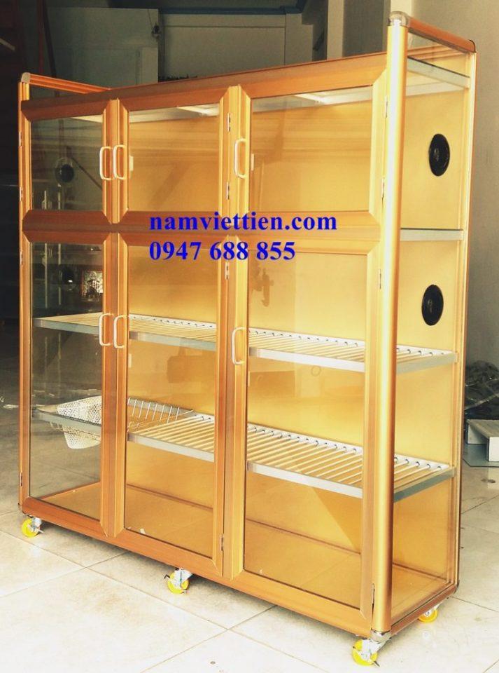 Tủ chén nhôm kính màu vàng