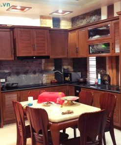 Tủ bếp nhôm kính giả vân gỗ