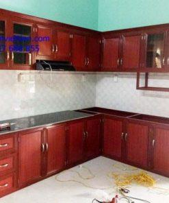 Tủ bếp nhôm kính vân gỗ-sơn tĩnh điện tphcm