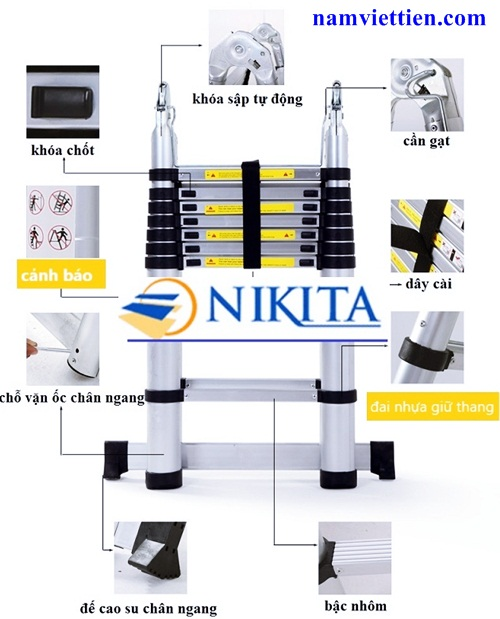 nikita 4 - Thang nhôm rút gọn chữ A Nikita[7,2M]